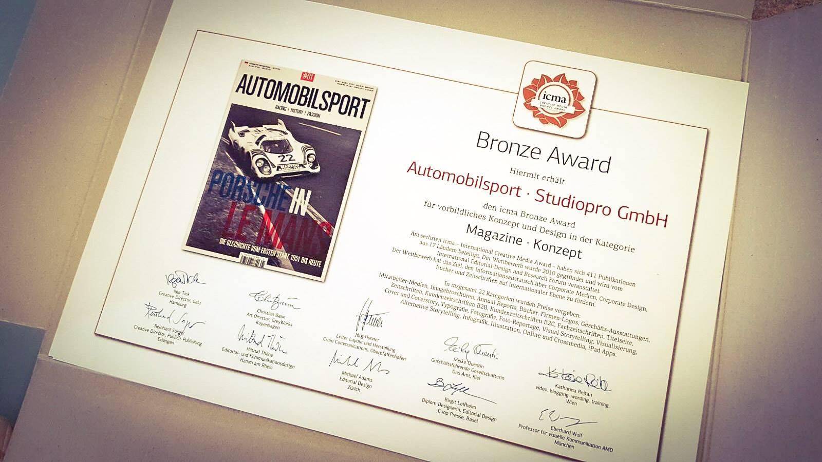 icma Award für das Automobilsport Magazin der Studiopro GmbH